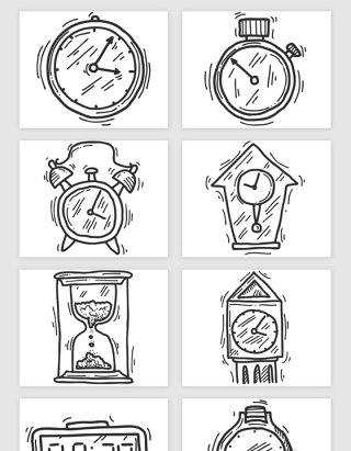 手绘手表闹钟时间矢量素材