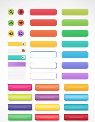 彩色网页图标按钮素材