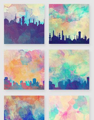 水彩水墨晕染城市剪影插画素材