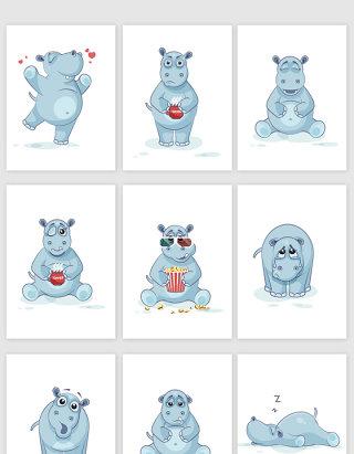 可爱卡通犀牛动物表情包