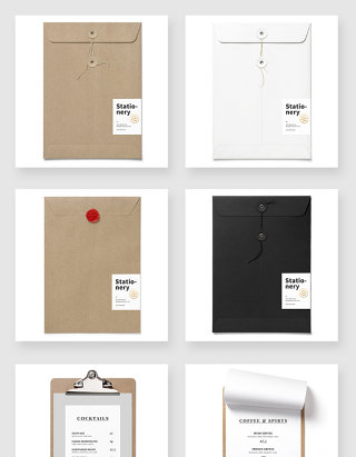 办公文件袋文件夹贴图样机素材