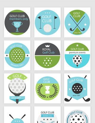 高尔夫运动标贴矢量素材