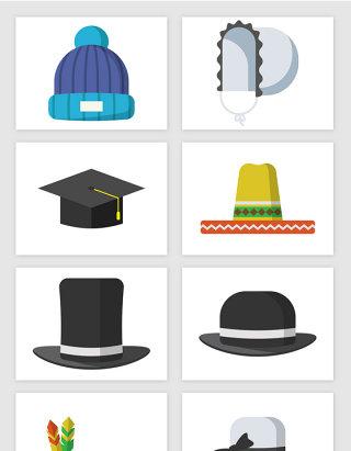 卡通冬季帽子矢量图形