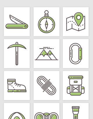 手绘露营户外运动必备装备物品插画矢量图形