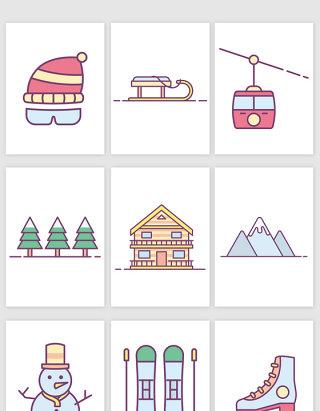 素描滑雪橇推雪人坐索道卡通矢量图形