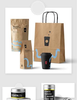 咖啡袋包装设计贴图样机素材