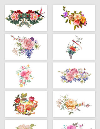 手绘水彩牡丹花素材