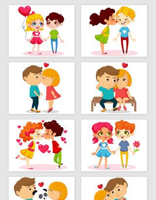 人物浪漫情人节爱情矢量素材