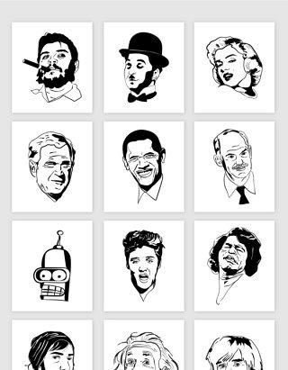 矢量手绘线描名人头像素材