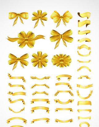金色蝴蝶结金色标签框素材
