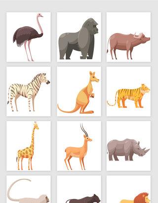 手绘风格卡通动物矢量元素