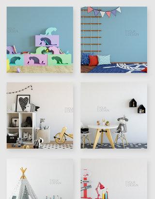 时尚清新儿童房间布置装饰贴图样机