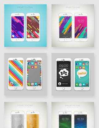 时尚手机壁纸设计模板样机素材