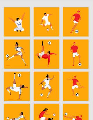 矢量卡通手绘足球运动员素材