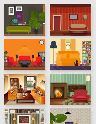 室内家居风格装修场景矢量素材