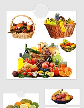 高清免抠水果篮水果盆