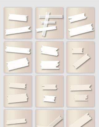 白色贴纸胶带矢量元素