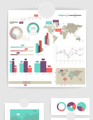矢量PPT数据统计图表素材