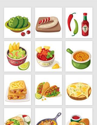 美食卡通风格矢量元素