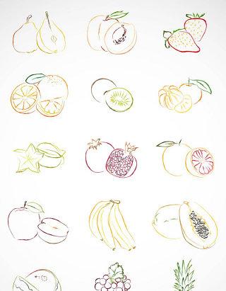 水彩线条水果矢量图形图标