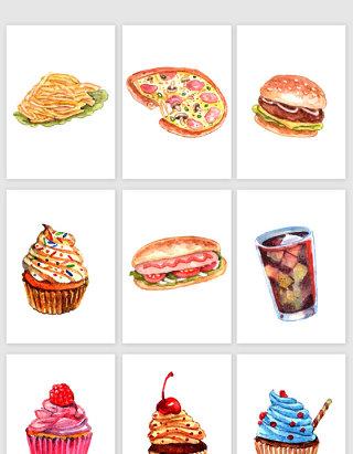 手绘水彩食物矢量插画素材