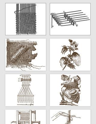 手绘古代棉花织布场景矢量素材