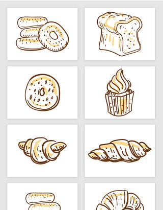 简笔插画面包切片牛角包纸杯蛋糕食物矢量图