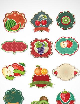 复古水果标签