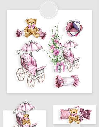 水彩手绘粉色小熊花车唯美PNG素材