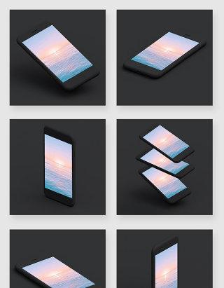全黑色系多角度苹果iphone手机样机