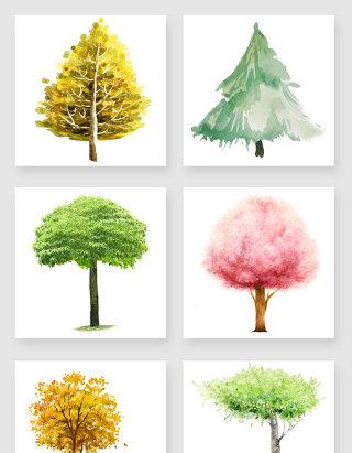 中国风水彩画树木png素材