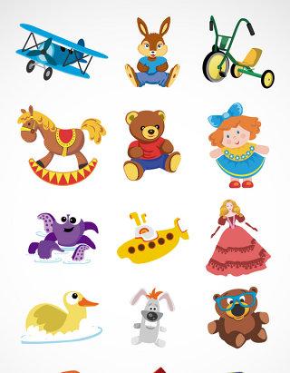 儿童玩具布娃娃矢量图标图形