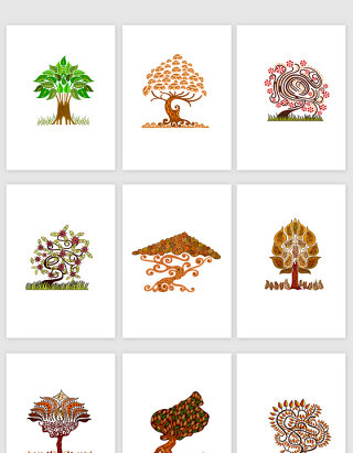 创意卡通树插画矢量素材