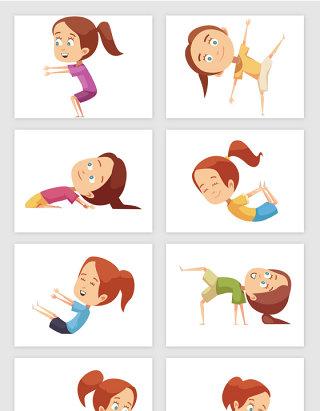 运动的小女孩卡通矢量图形