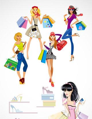 时尚购物美女卡通形象素材