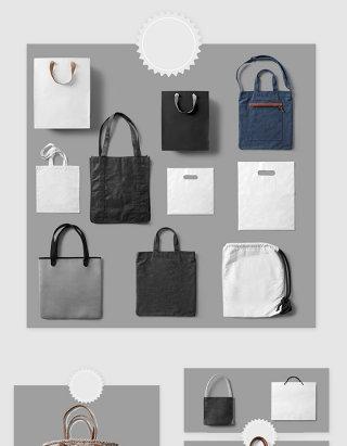 高清免抠布艺手拎袋束口袋素材