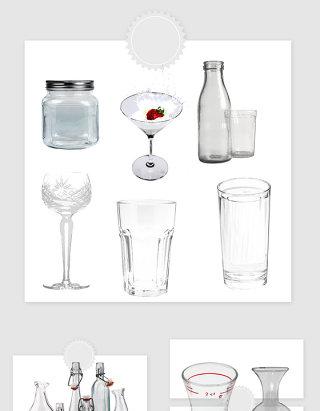 高清免抠透明玻璃杯玻璃瓶