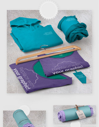 服装产品包装贴图样机素材
