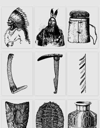 手绘古人头饰工具的矢量素材