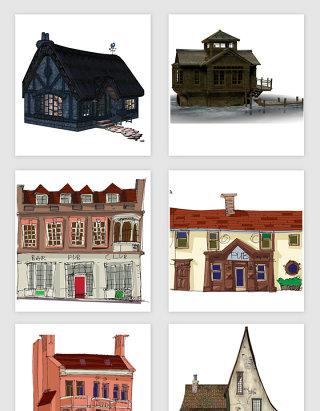 手绘卡通房子的PNG免抠素材