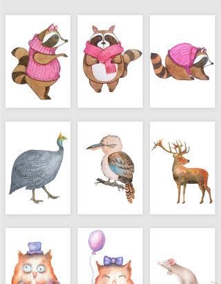 手绘卡通可爱动物形象矢量素材