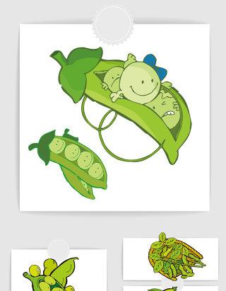 卡通可爱绿色豆子