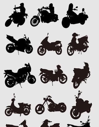 手绘的摩托车剪影素材
