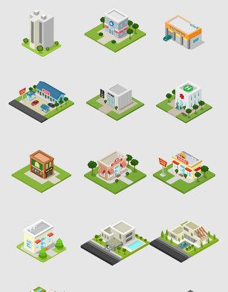 卡通建设楼房设计