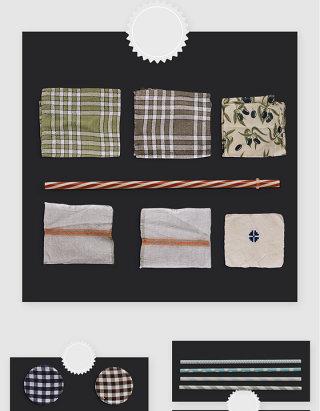 田园风格子手帕厨房餐垫PSD素材