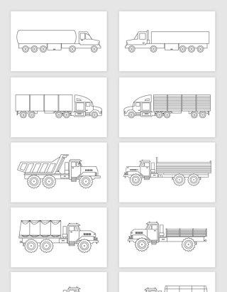 矢量线描卡车货车素材