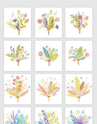 矢量淡雅手绘装饰花卉植物