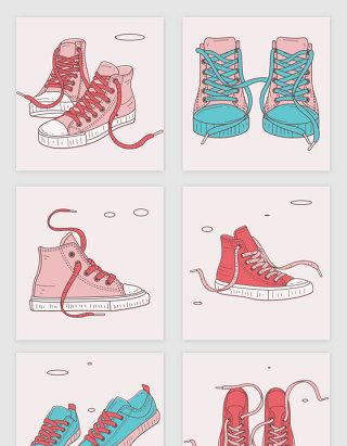 矢量手绘粉色帆布鞋
