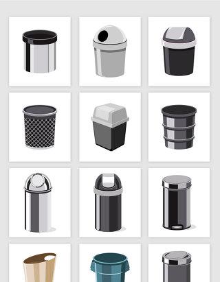 矢量各种造型垃圾桶