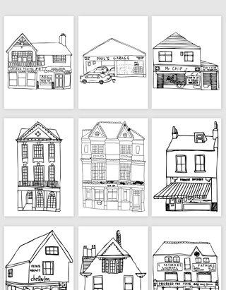 线描建筑房子草图矢量素材